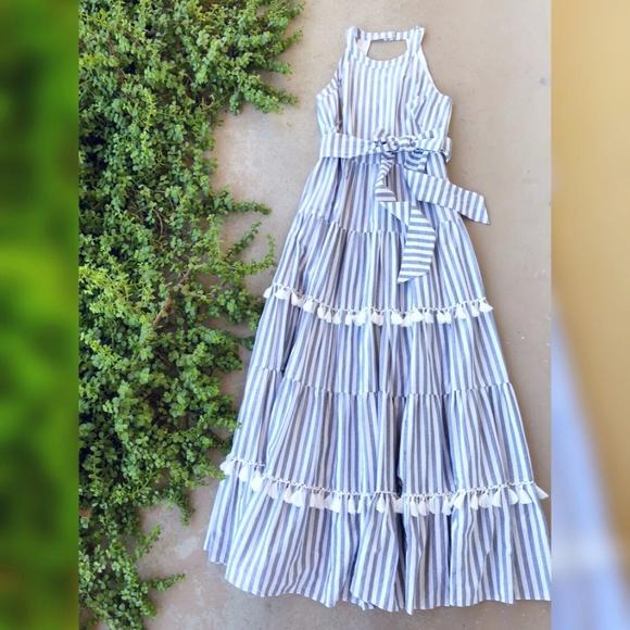 bdc6af59fc7 Eliza J Dresses   Skirts - Eliza J Tiered Stripe Tassel Halter Maxi Dress